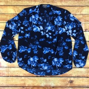 Vince Camuto Blue Fountain Floral Wrap Blouse XS